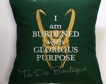 Loki Glorious Purpose Embroidered Pillow Cover