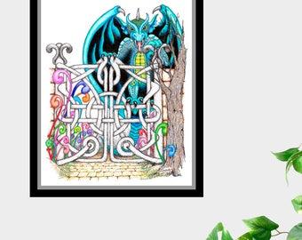 Dragon at the Gates Ink and Pencil drawing 8 X 10 Print