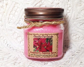 Jar Candles, Raspberry Jasmine Spice, mason jar, 1/2 pint, floral scent, teacher gift, container candle, Moeggenborg Sugar Bush