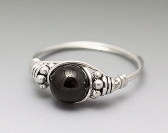 Jet Stone Bali Sterling Silver Wire Wrapped Bead Ring - Made to Order, Ships Fast!