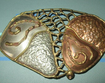 Vintage MOD 80s Mixed Metal Silver Copper and Brass Abstract Design Womens Belt Buckle