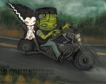 Bride And Frankenstein Motorcycle Original Painting Harley Tattooed couple Halloween Art---18 x 24