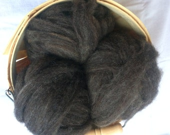BFL Alpaca Blend Roving- Dark Grey Roving- 4 oz. - Spinning, Felting, Natural, USA, Eco, Local