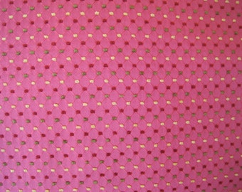 Home Decor Fabric Coral with Chenille Tufts in Gold Rose Green 1 1/2 Yards Upholstery