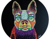 "Terrier pug Dog  Acrylic 12"" round on black canvas board. Orange black brown white tan purple green red blue pink"