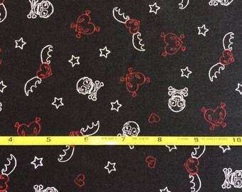 "Skulls  and Crossbones on Black cotton lycra knit fabric 58"" wide"
