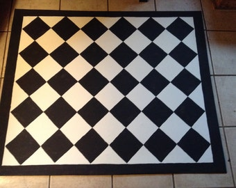FLoorcloth /  hand painted rug/ Country Primitive/ French Country / 4'x5' /BLACK & WHITE