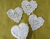 White Crochet Hearts