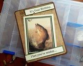 Handmade Birthday Card: fishing, male, real fishing hook, complete card, handmade, balsampondsdesign, birthday card, large type,
