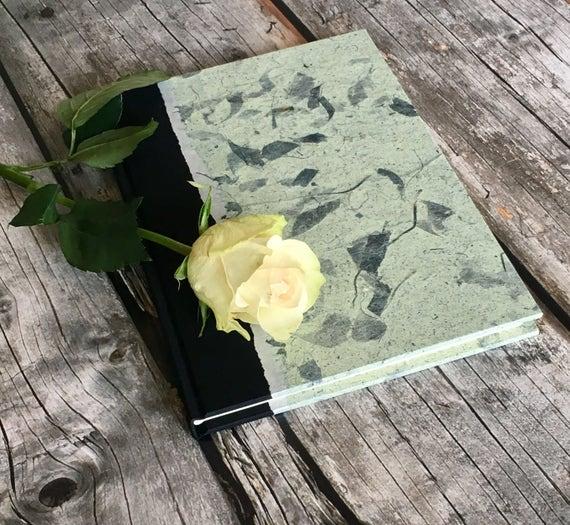 Rustic Guest Book - Guest Book Idea,Custom Guest Book,Memorial Guest Book,Keepsake Guest Book,Wedding Guest Book Guestbook Slate Mango Leaf
