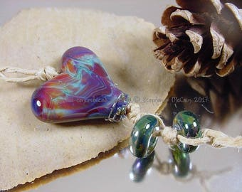Handmade lampwork glass focal bead, Artisan glass beads, blue beads, purple beads, fuchsia bead, heart shaped beads, SRA lampwork beads