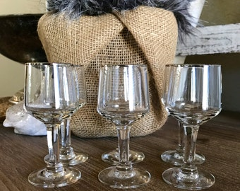 Platinum Trim Set of 6 Stemmed Shot Glasses Footed Shot Glass Wedding TYCAALAK