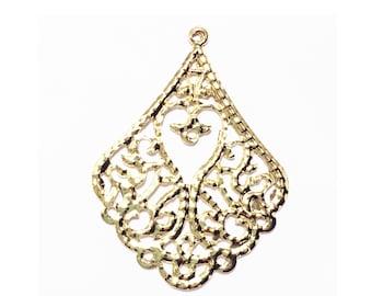 10 pcs of Gold tone filigree teardrop 53x39mm, gold filigree earring drop