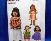 Butterick B6047,  very easy sewing pattern, toddler girls, top, dress, shorts, pants, sizes 1 to 4