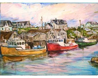 PEGGY COVE BOATS- 11x15 original painting Seascape watercolor ooak, Original Painting, Signed, Dated, Waterfront, Nova Scotia,