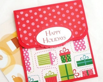 CLEARANCE SALE Holiday Gift Card Holder - Happy Holidays Cards - Christmas Gift Card Holders - Holiday Money Cards