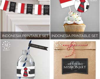 INSTANT DOWNLOAD - INDONESIA -  Missionary Farewell Welcome Home Decoration Printable Set for Elders