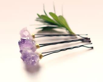 Amethyst bobby pins, Purple quartz clips, crystal hair clips, Boho bridal, Wedding accessory bobbies, Gift for her - AMETHYST - set of 3