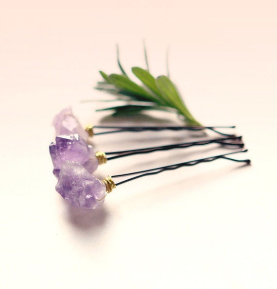 Amethyst bobby pins, Purple quartz clips, crystal hair clips, Boho bridal, Wedding accessory bobbies, Gift for her - AMETHYST - set of 3