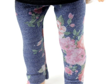 Fits like American Girl Doll Clothes - Floral Leggings on Dusty Blue, Made To Order