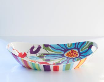 Tray READY to SHIP Colorful Tray Jubilation Large Handle Tray Ceramic Tray Fruit Bowl Wedding Gift for Boho Bride Bridal Shower Gift J