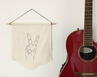 Peace Banner/Embroidered Freehand with Sewing Machine