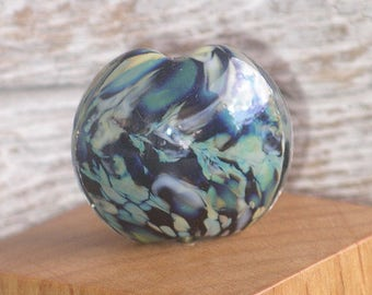 Handmade Glass Lampwork Lentil Focal Bead - Cosmos
