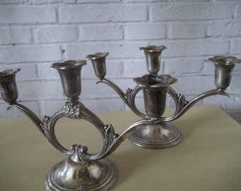 Wm Rogers & Son Candelabra Set of 2 Spring Flower Silverplate Candlestick Holder,  Pair Candelabras
