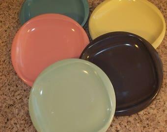 Melmac Plates ~ Boontonware Melmac ~ Set of 5 Melmac Salad Plates, Dessert Plates
