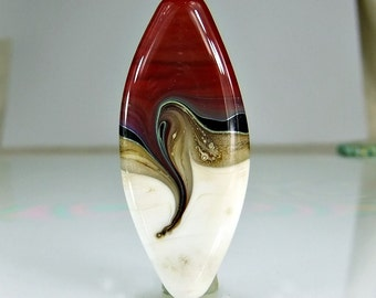 Lampwork Glass Focal Bead Red Black  Ivory Silver