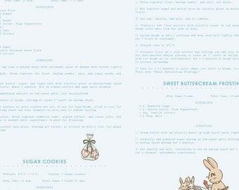 Blue C6024 Recipes BUNNIES & CREAM by Lauren Nash for Penny Rose Fabrics