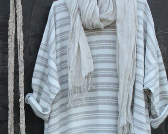 Taupe and White Maxi Dress
