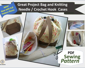 2017 PDF Great Padded Project Bag, Needle Case, Needle Sleeve Sewing Pattern for Organizing Knitting and Crochet Supplies