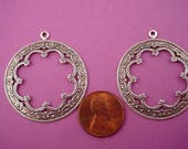 4 silver ox scalloped Victorian Art Nouveau Arabian  Gypsy style cut out hoops