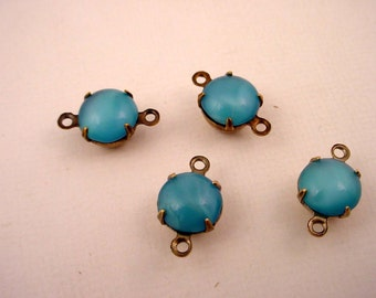 6 Vintage blue moonstone glass round 8mm charms 2 ring connectors  antique  brass ox setting
