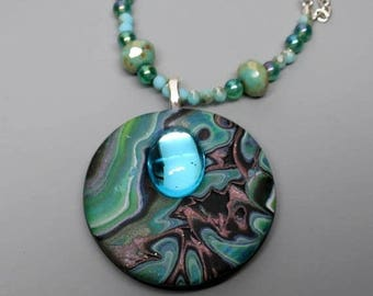 EasterSale Mokume Gane Pendant, Polymer Clay and Vintage Cabochon and Czech Beads, Shades of Green, Unique Jewelry