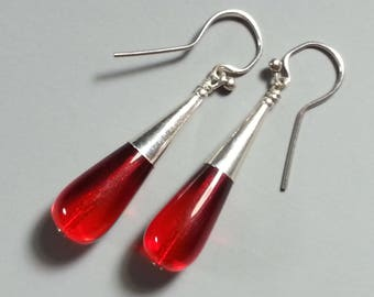 """Festive Ruby Glass and Sterling Silver Earrings.....My Popular """"Torpedo"""" Style"""