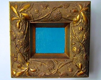 Starry Night small blue painting in vintage custom frame
