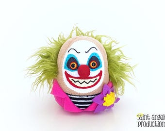 Evil Clown Plushie, Stuffed Creepy Scary Halloween Doll, Insane, Crazy Circus, Carnival Plush, READY TO SHIP