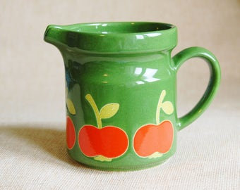 Vintage 1970s Apple Pitcher Ceramic Green and Redish Orange Mod Kitchen Signed Tomato