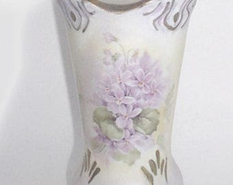 Hatpin Holder - Porcelain - Lilacs with Hand Painted Gold Decor - Lovely Design