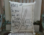 St. Patrick's Day Pillow, Irish Blessing, Shamrock, Irish Hat, Pipe