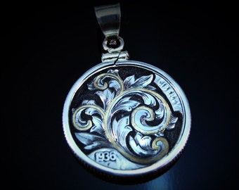 Art Nouveau Inspired Hand Engraved Hobo Nickel Pendant with  Gold Inlay by Jack
