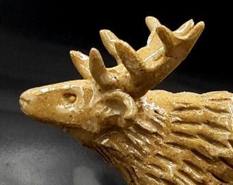 Stoneware Stag - rustic deer sculpture - original art