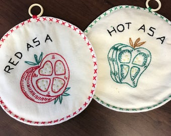 Red as a Beet - Hot as a Pepper & Cute as a Button Pair of VINTAGE Embroidered Potholders!