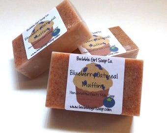 Blueberry Oatmeal Muffin MINI GUEST Size Goats Milk and Oatmeal Soap Bar
