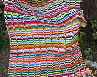 Vintage Hand Crochet Colorful Stripes Afghan with Fringe