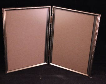 vintage gold metal double hinged 5 x 7 bifold picture frame with glass - Double Glass Frame