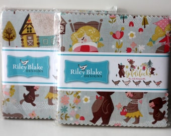 "SALE 2 Packs 5"" inch squares GOLDILOCKS charm pack fabric by Riley Blake by Jill Howarth"
