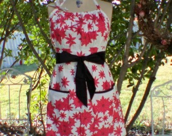 Retro Chic- Full Apron-Hostess-Red - Poinsettias -Black-Gather top -2 pockets
